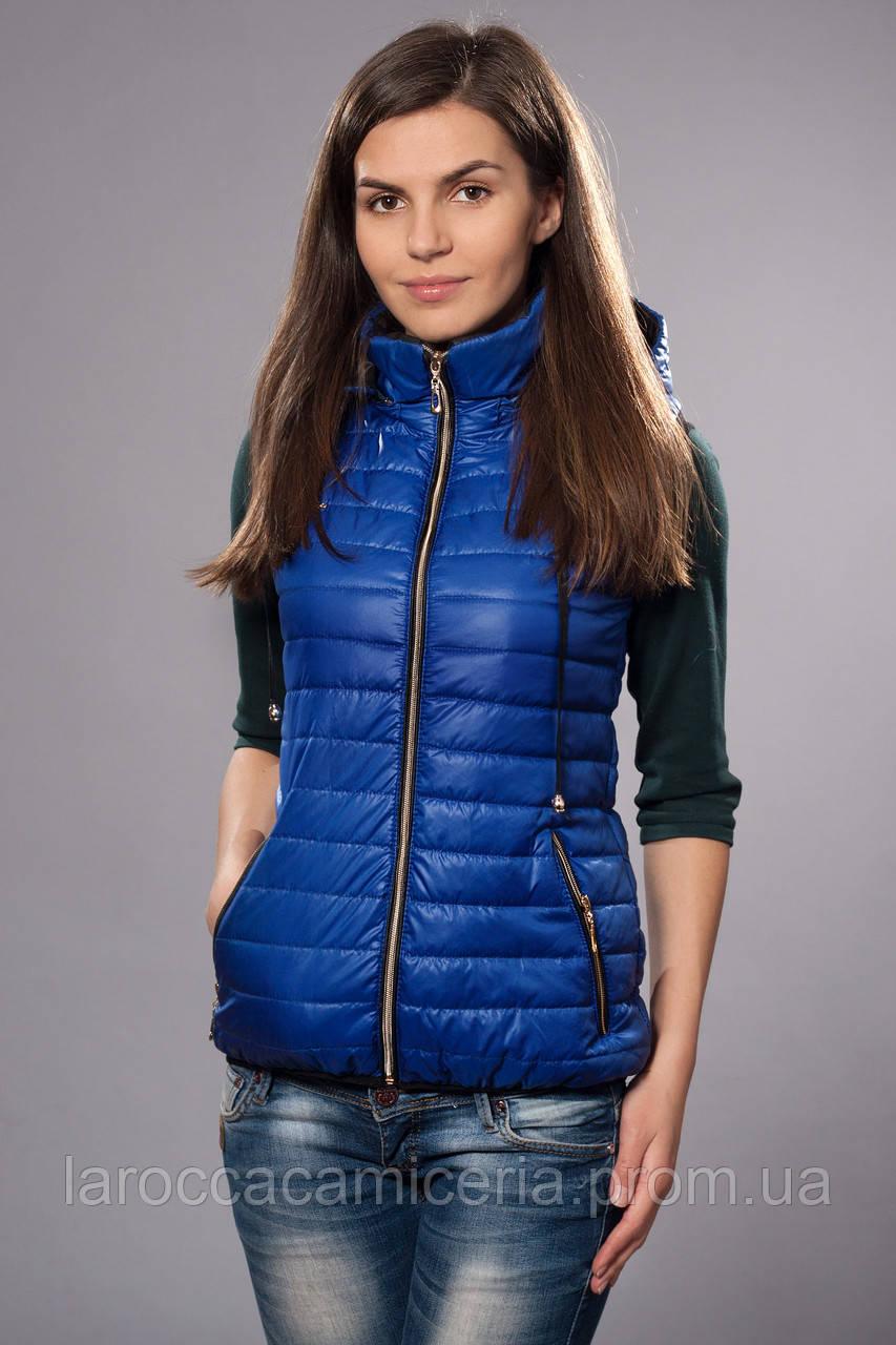 0e9b138caf6e7 Жилетка женская молодежная утепленная. Код модели ЖЛ-04-12-14. Цвет яркий  синий.