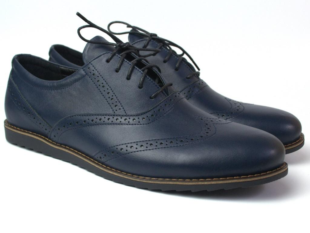 Синие мужские туфли кожаные броги обувь демисезонная Rosso Avangard Felicete Breakage Lether Blu