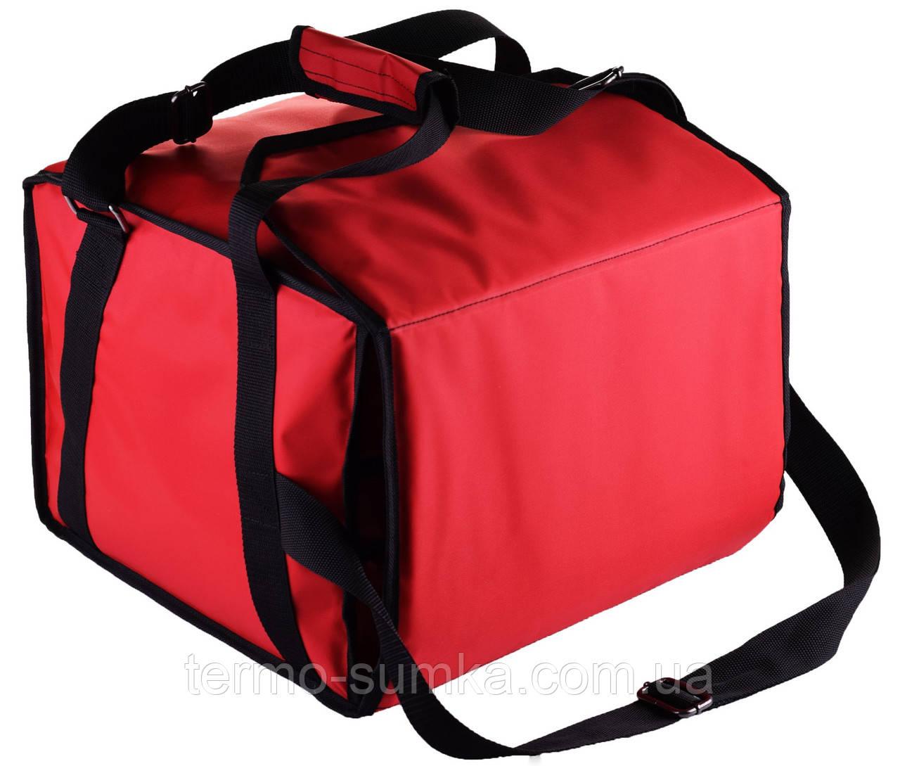 Термосумка  для пиццы  на 5-6 коробок 32*32 см. Застёжка на липучках. Красная