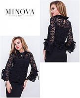Жіноча гипюрова блуза з майкою в комплекті