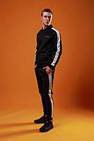 Мужской спортивный костюм Fila (black), черный спортивный костюм с лампасами, костюм с лампасами Фила