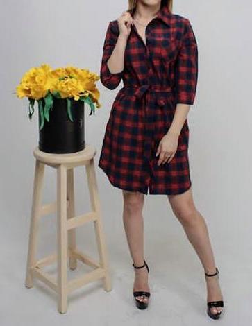 Платье-рубашка в клетку, размеры от 42 до 48