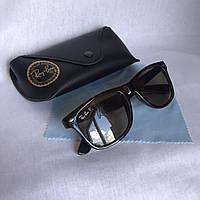 Солнцезащитные очки унисекс Ray Ban Wayfarer стекло коричневый комплект