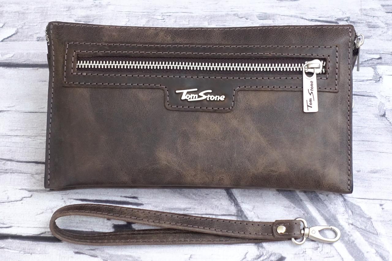 Мужской клатч из натуральной кожи Tom Stone K2 коричневая