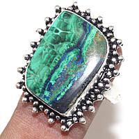 Кольцо азурит малахит в серебре размер 18,5-19 Индия, фото 1