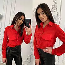 Стильная однотонная рубашка-блуза, размеры от 42 до 48, фото 3