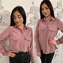 Стильная однотонная рубашка-блуза, размеры от 42 до 48, фото 2
