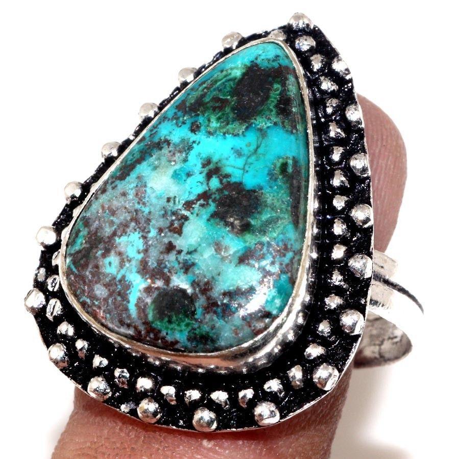 Красивое кольцо азурит хризоколла в серебре. Кольцо с азурит хризоколлой 18,5 размер Индия!