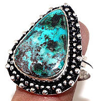 Красивое кольцо азурит хризоколла в серебре. Кольцо с азурит хризоколлой 18,5 размер Индия!, фото 1