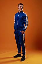 Мужской спортивный костюм Fila (Blue), синий спортивный костюм с лампасами, костюм с лампасами Фила