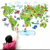 """Наклейка на стену, виниловые наклейки, наклейки в детсад """"карта мира для детей"""" 80см*120см (лист 60*90см)"""