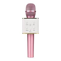 Портативный микрофон-караоке Q7, Bluetooth, MS + чехол, розовый., фото 1
