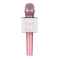 Портативный микрофон-караоке Q7, Bluetooth, MS + чехол, розовый.