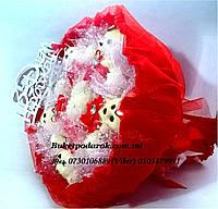 """Букет из игрушек """"Мишки красные"""" с поздравлением"""