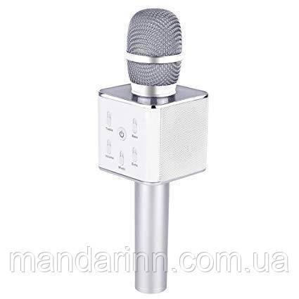 Портативный микрофон-караоке Q7, Bluetooth, MS + чехол, серебро