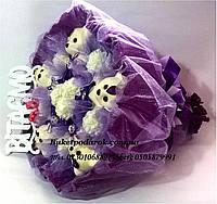 """Букет из игрушек """"Мишки фиолетовые"""" с поздравлением"""