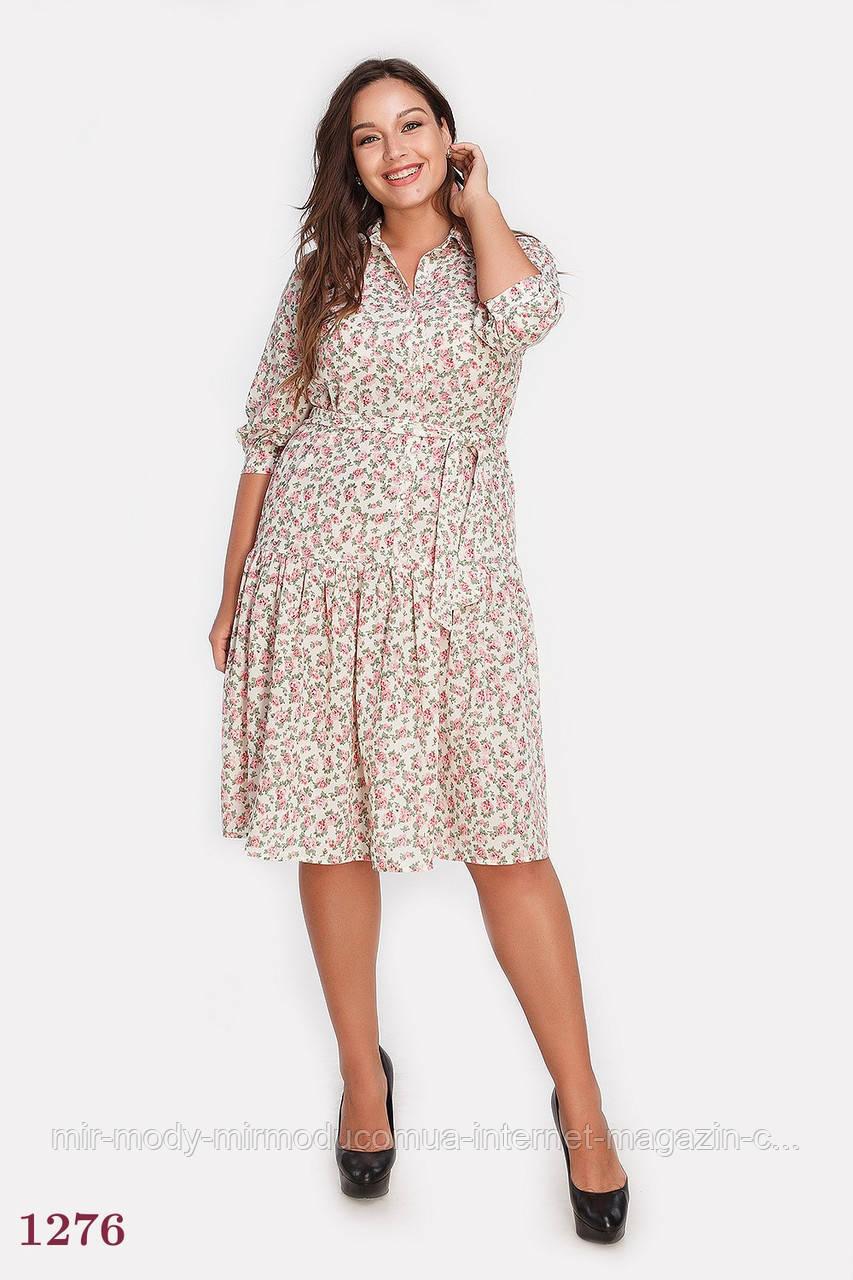 Нарядное батальное платье Милан -молочный (2 оттенка) с 48 по 54  размер (пин)