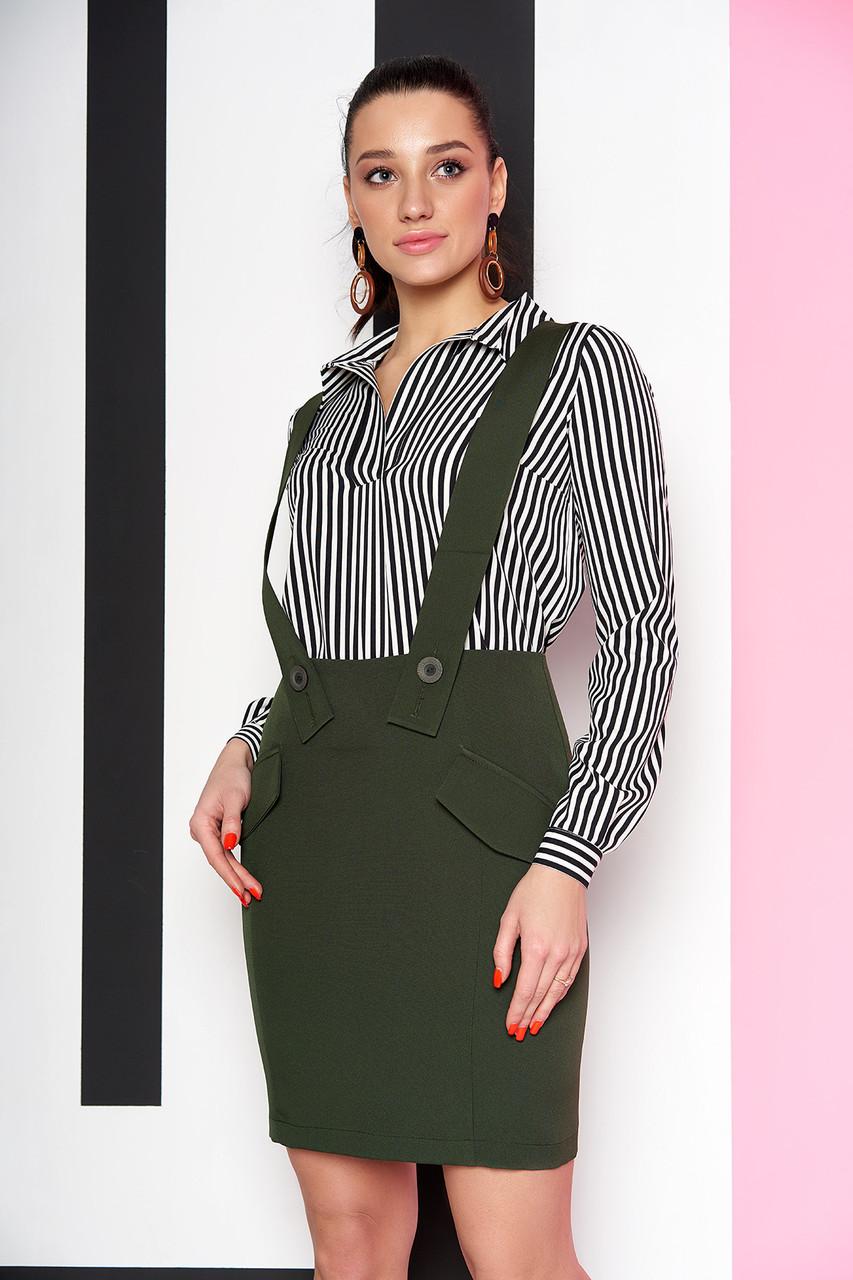 Модная юбка короткая с подтяжками хаки