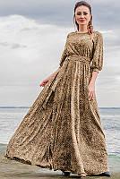 Платье макси Ванесса Леопард, капучино
