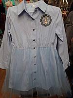 Стильное платье-рубашка с пышной юбкой юниоры