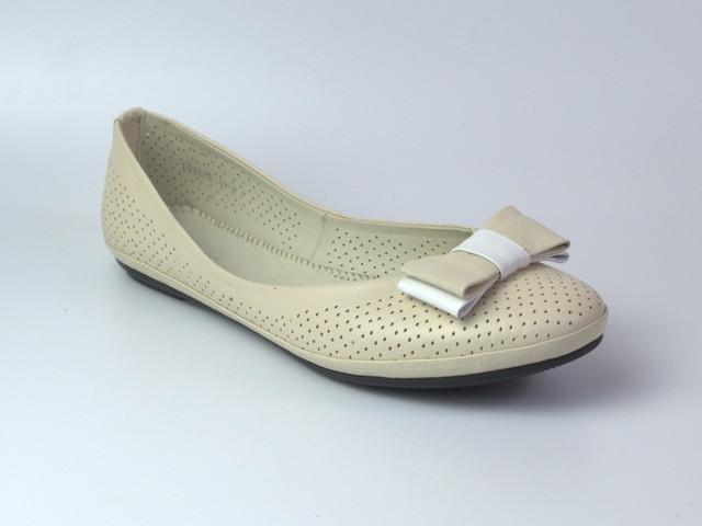 Балетки бежевые летние кожаные женская обувь Scara V Beige Perl Perf Leather by Rosso Avangard