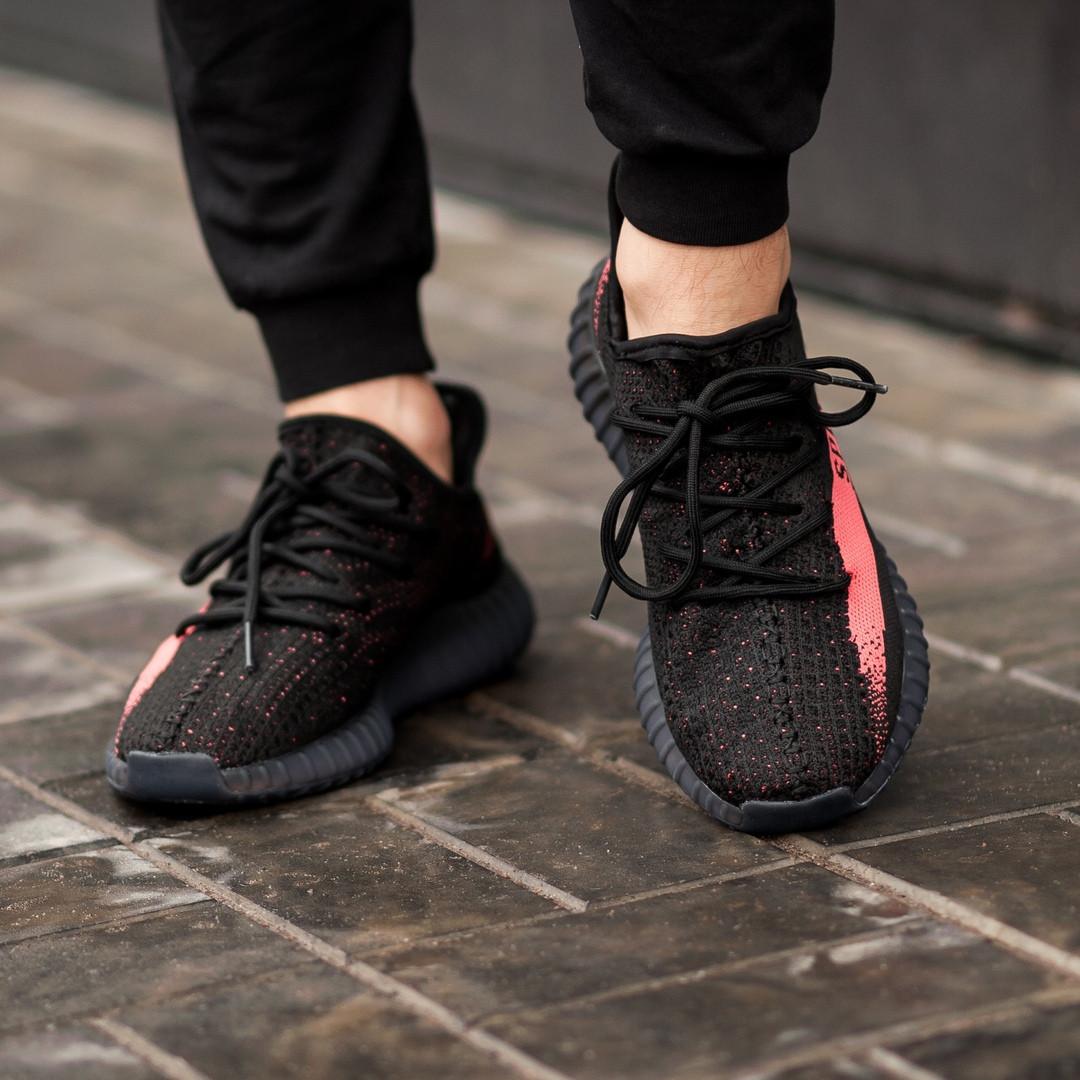 87fb3907 ... Мужские кроссовки в стиле Adidas Yeezy Boost 350 V2 Bred (Black/Red),  ...