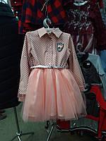 Розовое платье на девочку подросток с пышной юбкой