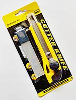 Нож канцелярский 18 мм с металлическими направляющими для лезвия и роликовым фиксатором