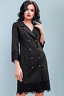 Модное платье-пиджак с кружевом 42-48 размера черное, фото 1