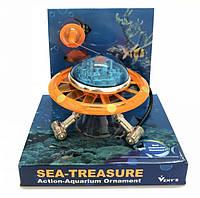 Экшн декор для аквариума НЛО оранжевая с аэрацией