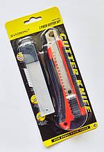 Нож канцелярский 18мм с металлическими направляющими и механизмом ступенчатой подачи лезвия