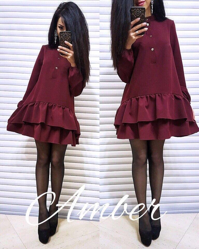 Платье с рюшами, размер единый 42-46