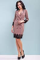 Модное платье-пиджак с кружевом 42-48 размера кофейное, фото 1