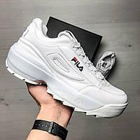 Кожаные мужские кроссовки Fila демисезонные массивные кроссовки на высокой подошве в стиле фила, белые