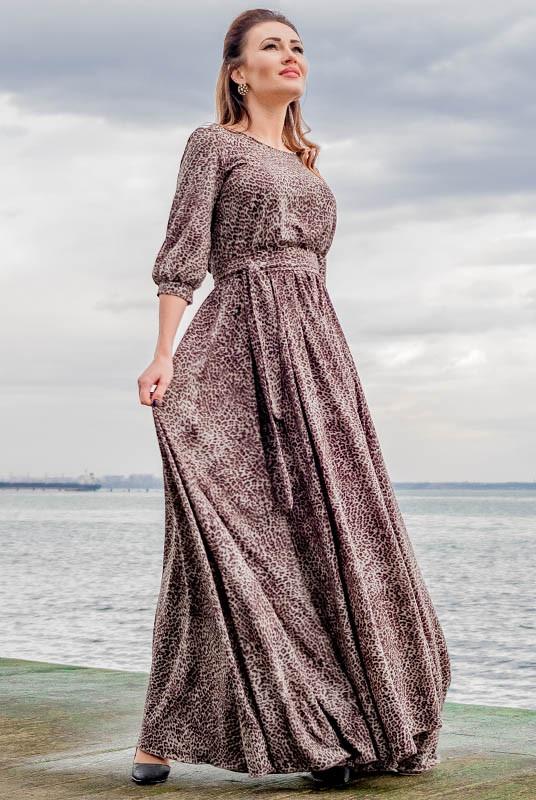 Шелковое длинное платье Ванесса Леопард, шоколад