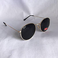 Cолнцезащитные очки Ray Ban Round черный в золотой  оправе, фото 1