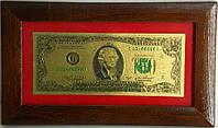 Подарочное панно с золотой 2 $ банкнотой