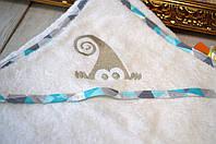 Полотенце-уголок с вышивкой Зеленый гном 95*95см