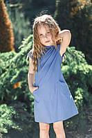 Красивое детское летнее платье Котон р. 116-134 джинс, фото 1