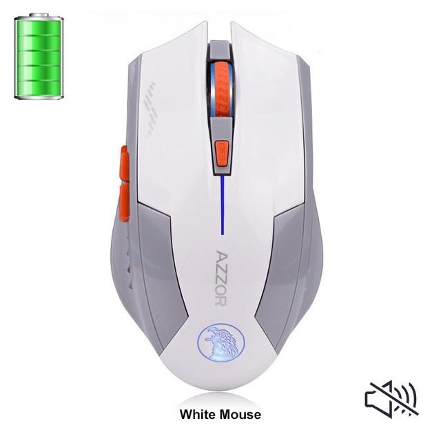 Беспроводная лазерная аккумуляторная игровая мышь Azzor. Белая.