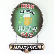 Табличка металлическая «Beer. Always open!», для бара и дома