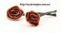 "Заколка ""Роза"" коричневый цвет."