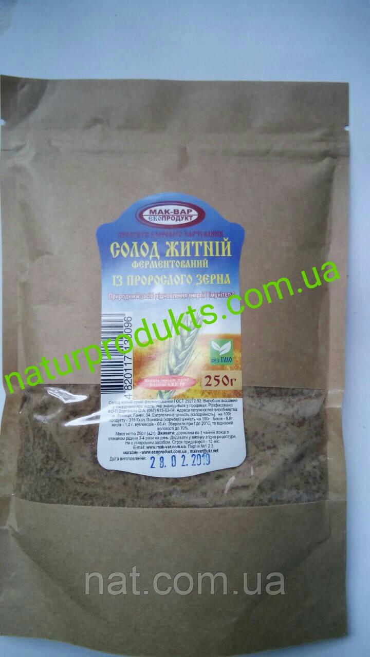 СОЛОД ржаной ферментированный из проросшего зерна «Мак-Вар», 250г