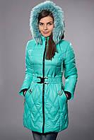 Зимнее женское молодежное пальто. Код К-53-12-15. Цвет мятный