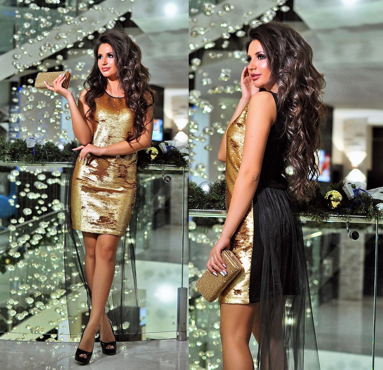 6b23951cf0562ba Платье с пайетками и съёмным фатином. Золотистое, 2 цвета. - S&V Одежда  оптом