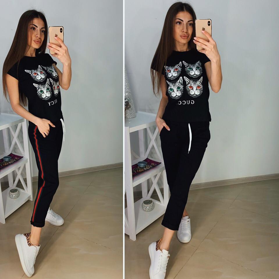 "Модная футболка GUCCI ""Кошка"", размеры S M L XL Турция"