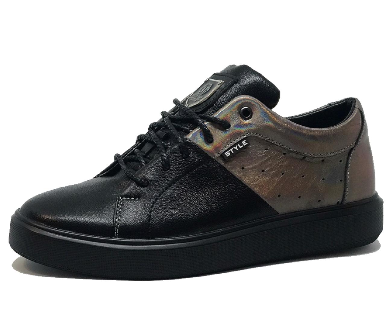 Женские черные кожаные кроссовки 41 размер 26.5 см