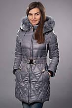 Зимнее женское молодежное пальто. Код К-53-12-15. Цвет серый