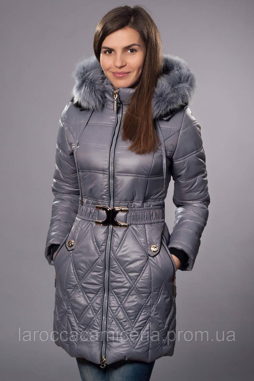 Зимнее женское молодежное пальто. Код К-53-12-15. Цвет серый - LA ROCCA в Хмельницком