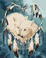 Картина по номерам на холсте Белые волки, KHO4104